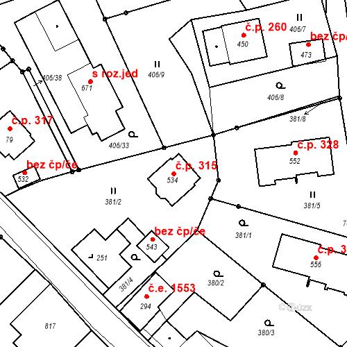 Katastrální mapa Stavební objekt Bedřichov 315, Bedřichov