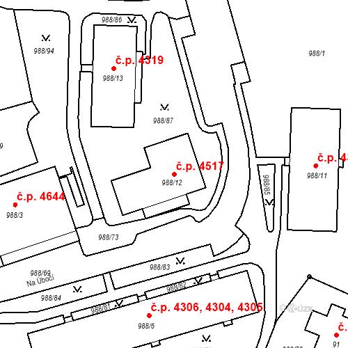 Katastrální mapa Stavební objekt Rýnovice 4517, Jablonec nad Nisou