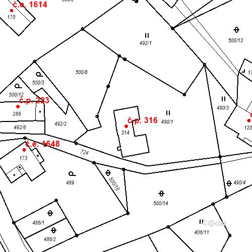 Katastrální mapa Stavební objekt Bedřichov 316, Bedřichov