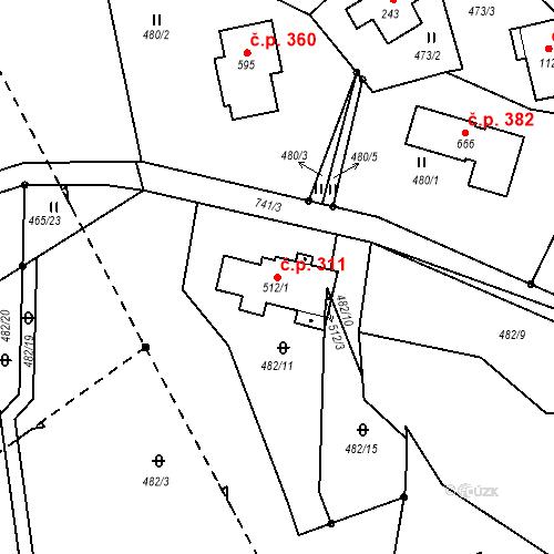 Katastrální mapa Stavební objekt Bedřichov 311, Bedřichov