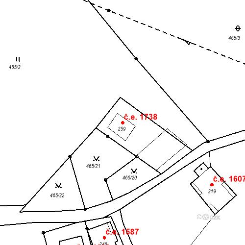 Katastrální mapa Stavební objekt Bedřichov 1738, Bedřichov