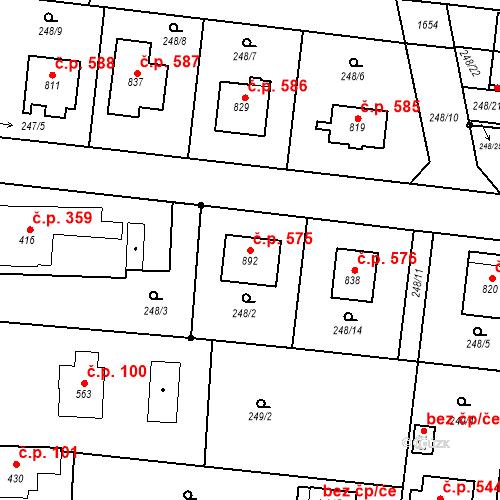 Katastrální mapa Stavební objekt Libáň 575, Libáň