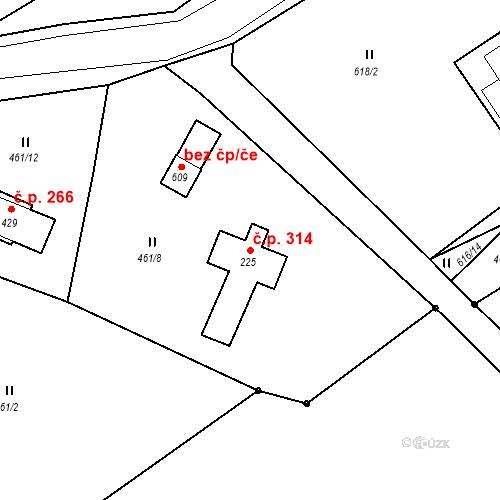 Katastrální mapa Stavební objekt Bedřichov 314, Bedřichov