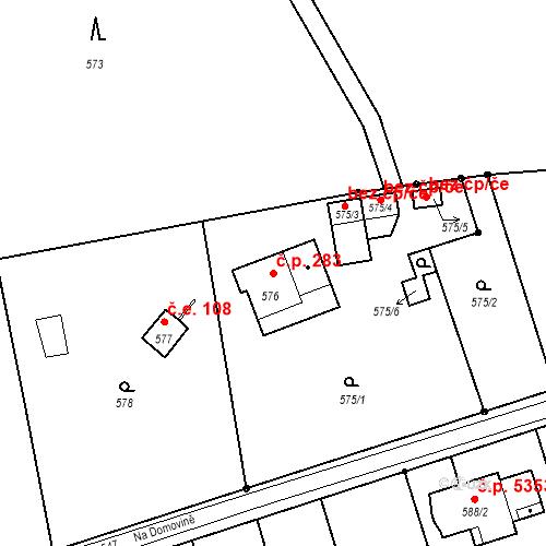 Katastrální mapa Stavební objekt Proseč nad Nisou 283, Jablonec nad Nisou