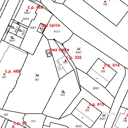 Katastrální mapa Stavební objekt Rychnov u Jablonce nad Nisou 326, Rychnov u Jablonce nad Nisou