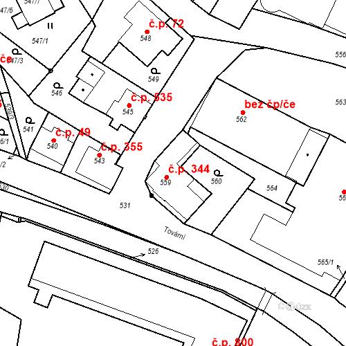 Katastrální mapa Stavební objekt Rychnov u Jablonce nad Nisou 344, Rychnov u Jablonce nad Nisou