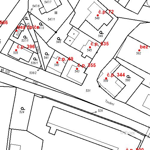 Katastrální mapa Stavební objekt Rychnov u Jablonce nad Nisou 355, Rychnov u Jablonce nad Nisou