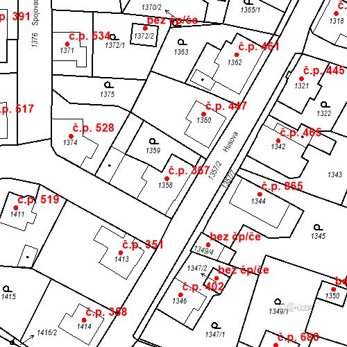 Katastrální mapa Stavební objekt Rychnov u Jablonce nad Nisou 367, Rychnov u Jablonce nad Nisou