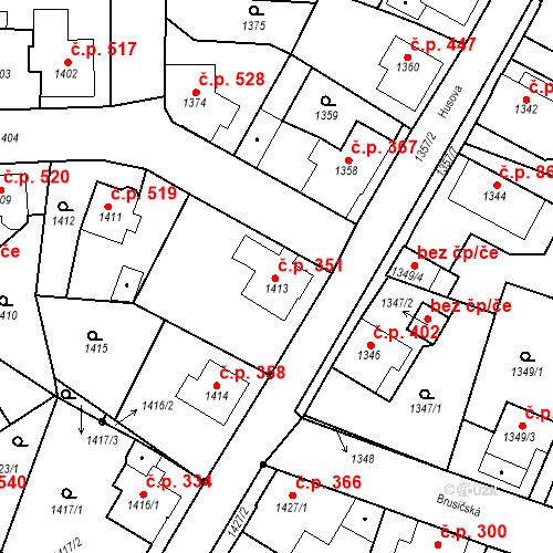 Katastrální mapa Stavební objekt Rychnov u Jablonce nad Nisou 351, Rychnov u Jablonce nad Nisou