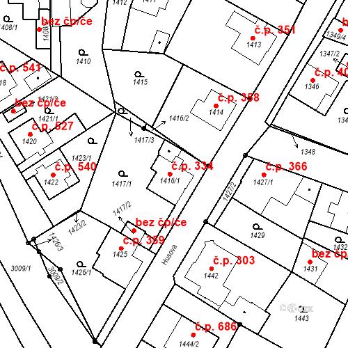 Katastrální mapa Stavební objekt Rychnov u Jablonce nad Nisou 334, Rychnov u Jablonce nad Nisou