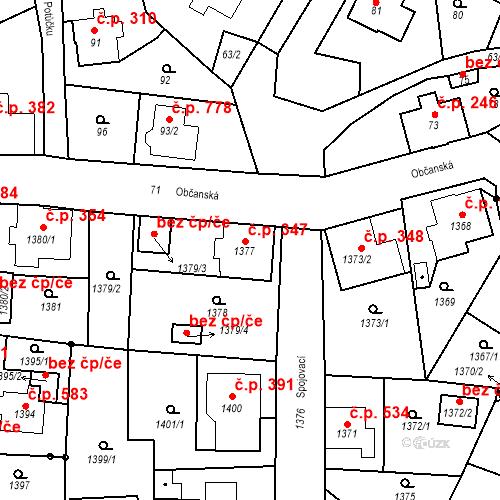 Katastrální mapa Stavební objekt Rychnov u Jablonce nad Nisou 347, Rychnov u Jablonce nad Nisou