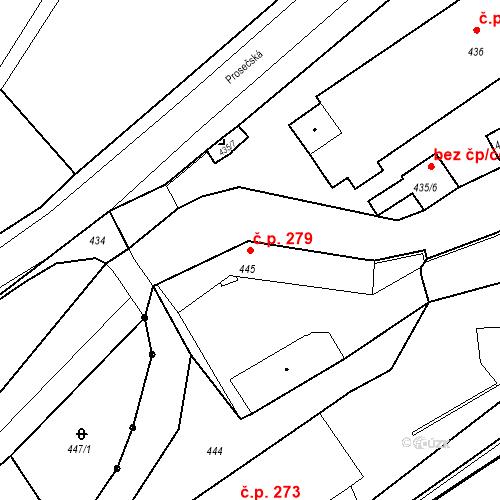 Katastrální mapa Stavební objekt Proseč nad Nisou 279, Jablonec nad Nisou