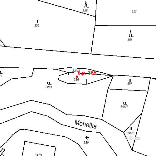 Katastrální mapa Stavební objekt Rychnov u Jablonce nad Nisou 365, Rychnov u Jablonce nad Nisou