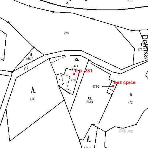 Katastrální mapa Stavební objekt Proseč nad Nisou 281, Jablonec nad Nisou