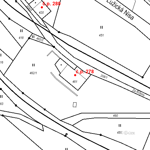 Katastrální mapa Stavební objekt Proseč nad Nisou 278, Jablonec nad Nisou