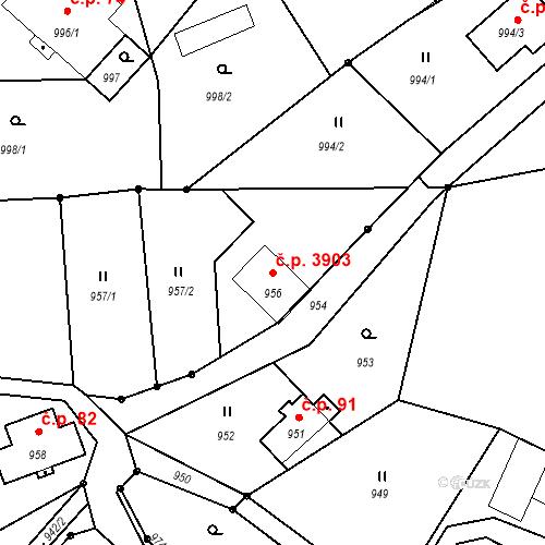 Katastrální mapa Stavební objekt Proseč nad Nisou 3903, Jablonec nad Nisou