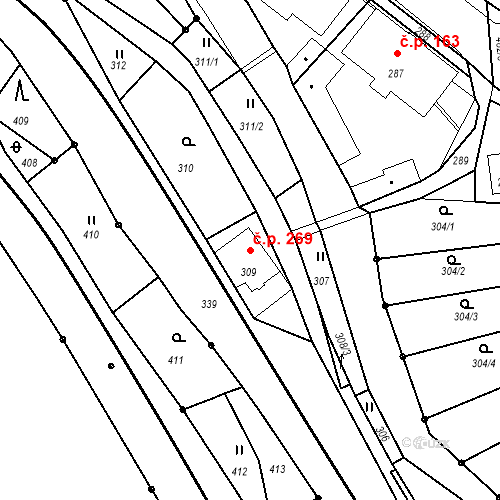 Katastrální mapa Stavební objekt Proseč nad Nisou 269, Jablonec nad Nisou