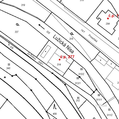 Katastrální mapa Stavební objekt Proseč nad Nisou 277, Jablonec nad Nisou