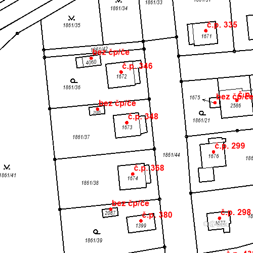 Katastrální mapa Stavební objekt Humpolec 348, Humpolec