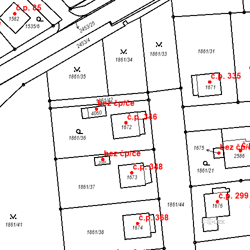 Katastrální mapa Stavební objekt Humpolec 346, Humpolec