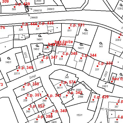 Katastrální mapa Stavební objekt Humpolec 345, Humpolec