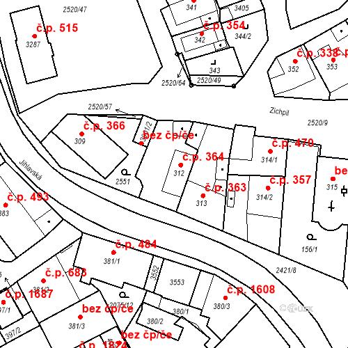 Katastrální mapa Stavební objekt Humpolec 364, Humpolec
