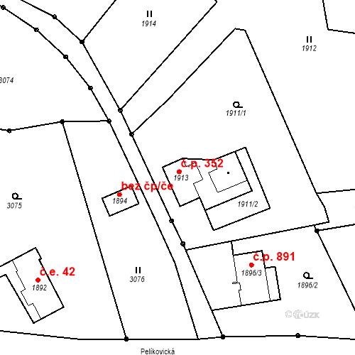 Katastrální mapa Stavební objekt Rychnov u Jablonce nad Nisou 352, Rychnov u Jablonce nad Nisou