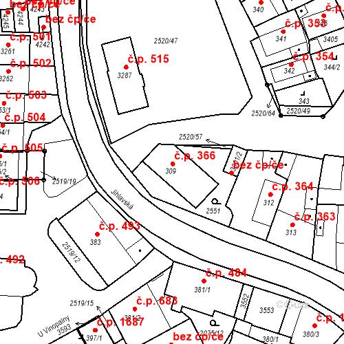 Katastrální mapa Stavební objekt Humpolec 366, Humpolec