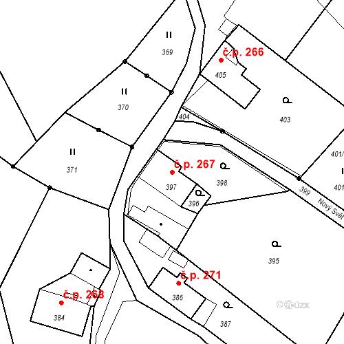Katastrální mapa Stavební objekt Proseč nad Nisou 267, Jablonec nad Nisou