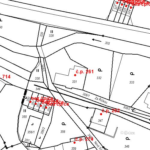 Katastrální mapa Stavební objekt Proseč nad Nisou 261, Jablonec nad Nisou