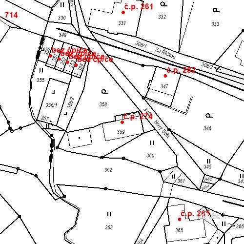 Katastrální mapa Stavební objekt Proseč nad Nisou 274, Jablonec nad Nisou