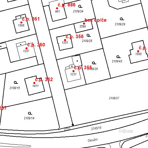Katastrální mapa Stavební objekt Humpolec 355, Humpolec