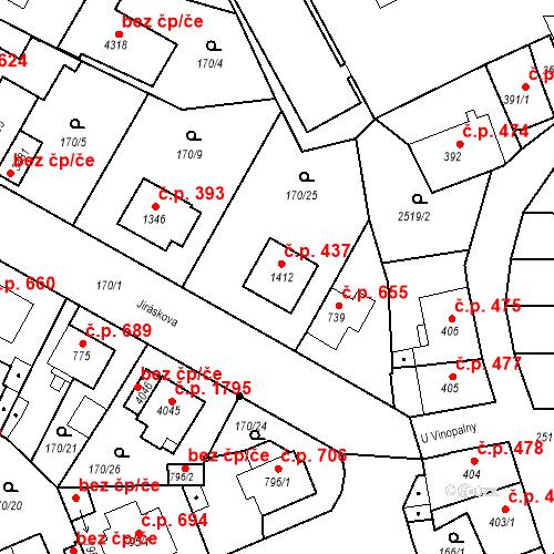 Katastrální mapa Stavební objekt Humpolec 437, Humpolec