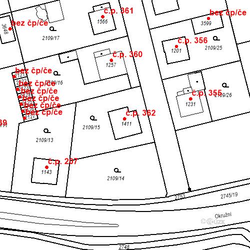 Katastrální mapa Stavební objekt Humpolec 362, Humpolec