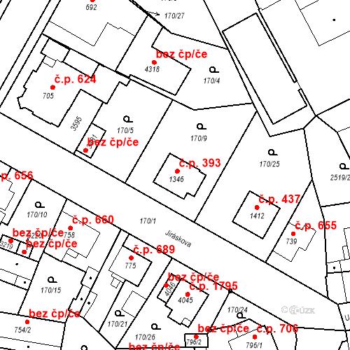 Katastrální mapa Stavební objekt Humpolec 393, Humpolec