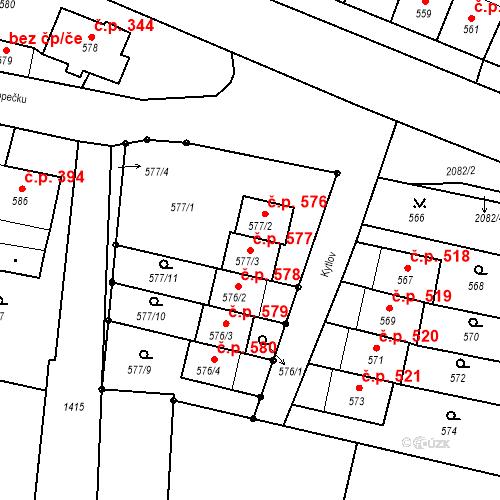 Katastrální mapa Stavební objekt Batelov 577, Batelov