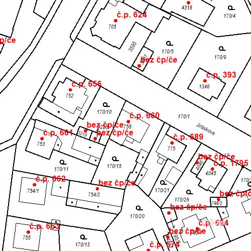 Katastrální mapa Stavební objekt Humpolec 660, Humpolec