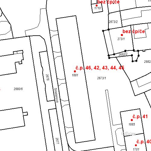 Katastrální mapa Stavební objekt Humpolec 44, Humpolec