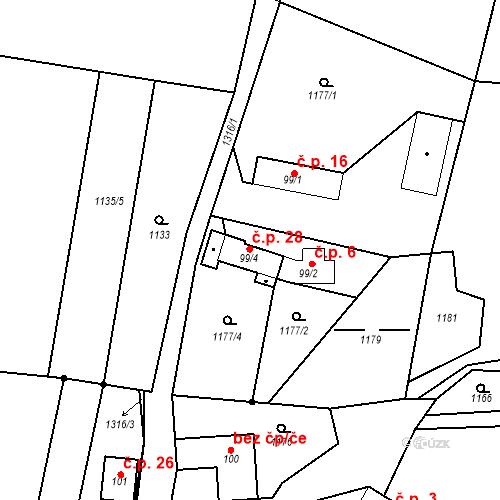 Katastrální mapa Stavební objekt Spařence 28, Markvartice