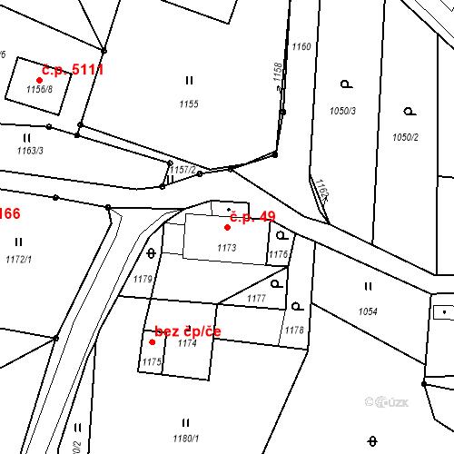 Katastrální mapa Stavební objekt Proseč nad Nisou 49, Jablonec nad Nisou