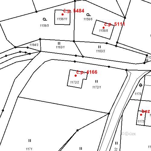 Katastrální mapa Stavební objekt Proseč nad Nisou 4166, Jablonec nad Nisou
