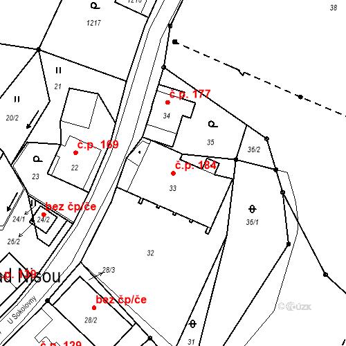 Katastrální mapa Stavební objekt Proseč nad Nisou 184, Jablonec nad Nisou