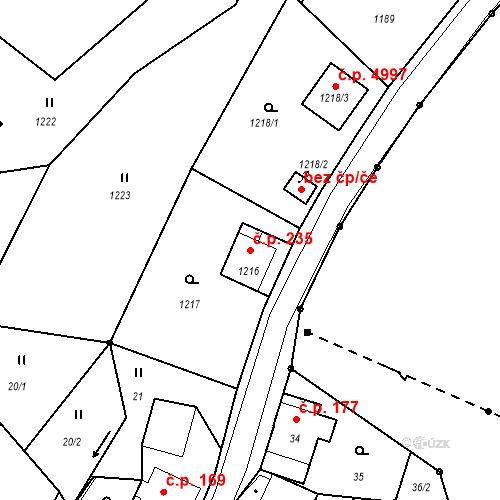 Katastrální mapa Stavební objekt Proseč nad Nisou 235, Jablonec nad Nisou