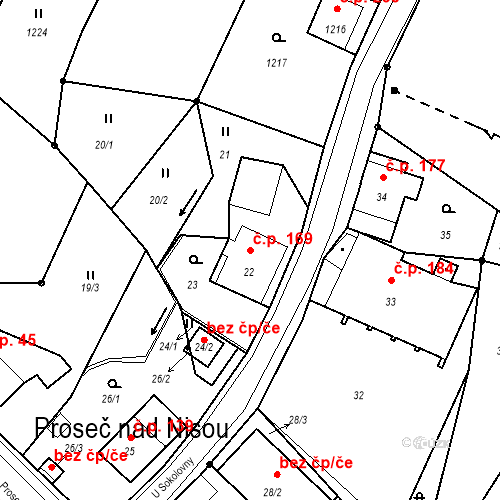 Katastrální mapa Stavební objekt Proseč nad Nisou 169, Jablonec nad Nisou