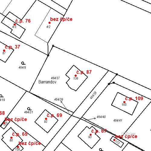 Katastrální mapa Stavební objekt Vilémovice 87, Vilémovice
