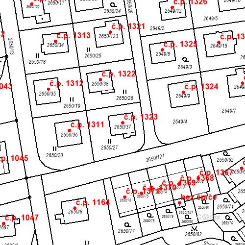 Katastrální mapa Stavební objekt Frýdlant 1323, Frýdlant