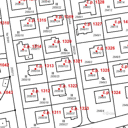 Katastrální mapa Stavební objekt Frýdlant 1321, Frýdlant