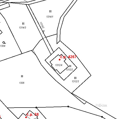 Katastrální mapa Stavební objekt Proseč nad Nisou 4267, Jablonec nad Nisou