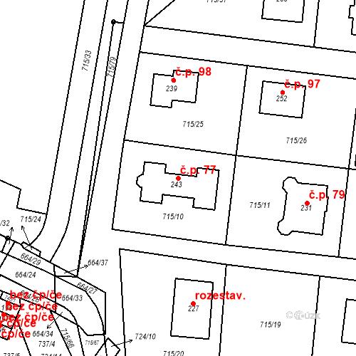 Katastrální mapa Stavební objekt Vystrkov 77, Vystrkov