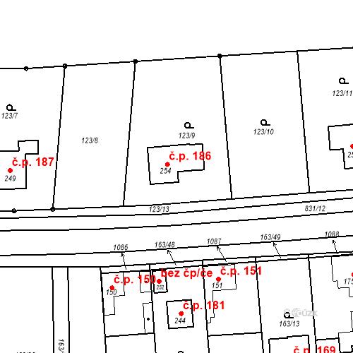 Katastrální mapa Stavební objekt Opolany 186, Opolany
